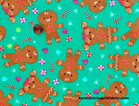 Cotton,Quilt,Fabric,Flannel,Gingerbread,People,Christmas,Aqua,Blue,,quilt backing, dresses, quilt fabric,cotton material,auntie chris quilt,sewing,crafts,quilting,online fabric,sale fabric