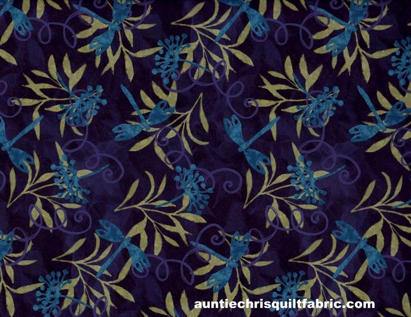 Cotton Quilt Fabric Susan Winget Jasmine Dragonfly Purple - product images  of