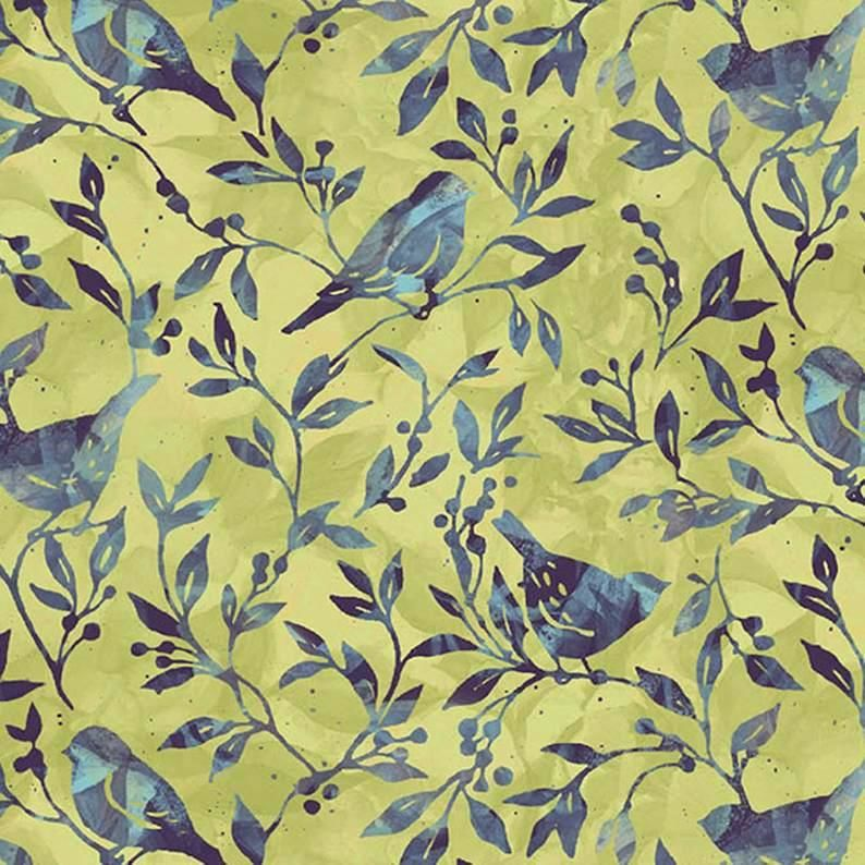 Cotton Quilt Fabric Susan Winget Jasmine Birdy Vine  - product images  of