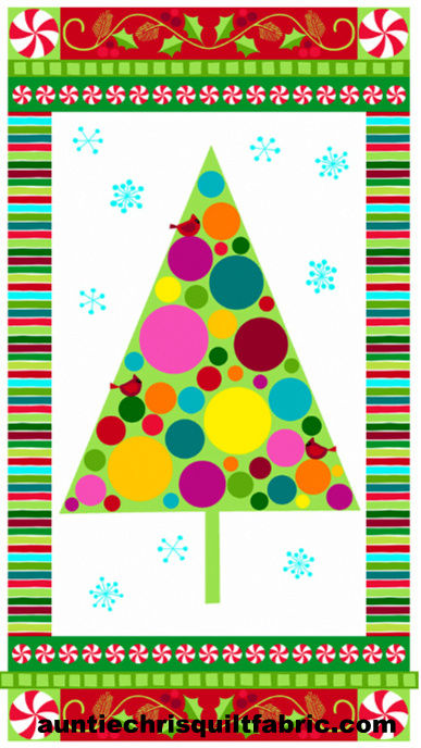 Cotton Quilt Fabric Christmas Very Merry Modern Tree Panel White  - product images  of