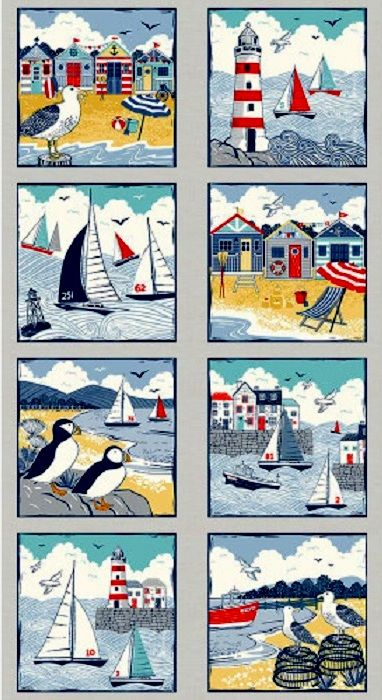 Cotton Quilt Fabric Panel Sail Away Nautical Lighthouse Sailboats Gulls - product images  of