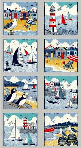 Cotton,Quilt,Fabric,Panel,Sail,Away,Nautical,Lighthouse,Sailboats,Gulls,,quilt backing, dresses, quilt fabric,cotton material,auntie chris quilt,sewing,crafts,quilting,online fabric,sale fabric
