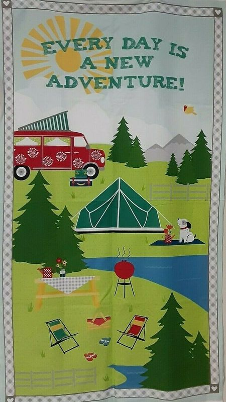 Cotton Quilt Fabric Panel Adventure Time Camping Fun  - product images  of