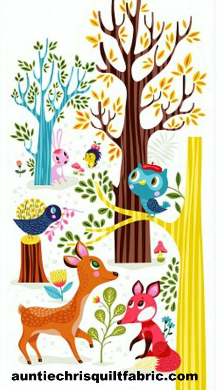 Cotton Quilt Fabric Panel Forest Babes Animals Deer Fox Owl - product images  of
