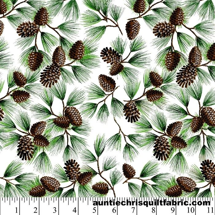 Cotton Quilt Fabric Winter Pine Cone With Glitter Christmas White Green  - product images  of