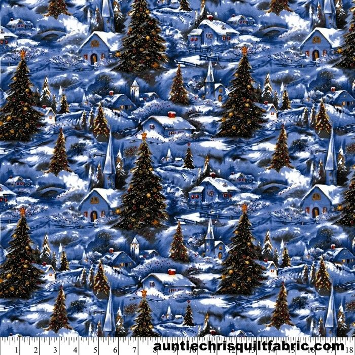 Cotton Quilt Fabric WINTER VILLAGE SCENIC Silver GLITTER Christmas - product images  of