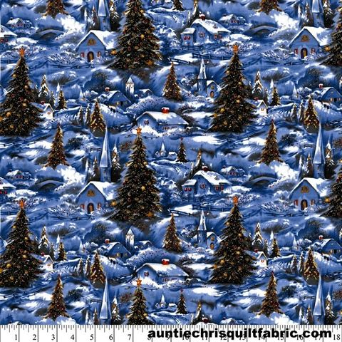 Cotton,Quilt,Fabric,WINTER,VILLAGE,SCENIC,Silver,GLITTER,Christmas,,quilt backing, dresses, quilt fabric,cotton material,auntie chris quilt,sewing,crafts,quilting,online fabric,sale fabric