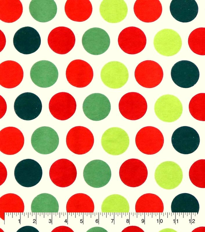 Cotton Quilt Fabric Flannel Christmas Dots Red Green White - product image
