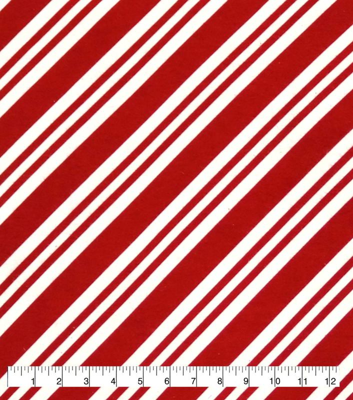 Cotton Quilt Fabric Flannel Candy Cane Stripe Holidays Red White - product images  of
