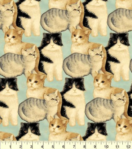 Cotton,Quilt,Fabric,Flannel,Realistic,Kitties,Cats,Blue,Multi,,quilt backing, dresses, quilt fabric,cotton material,auntie chris quilt,sewing,crafts,quilting,online fabric,sale fabric