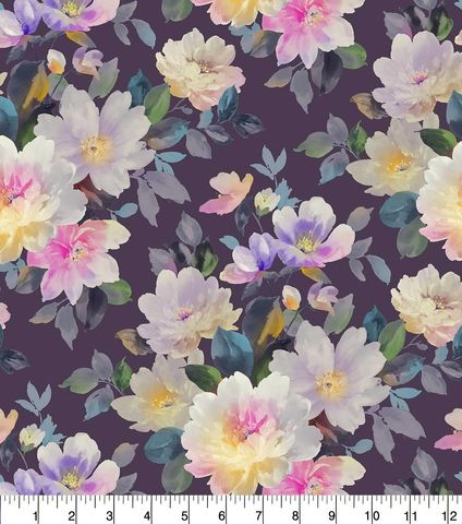 Cotton,Quilt,Fabric,Flannel,Watercolor,Floral,On,Purple,Multi,,quilt backing, dresses, quilt fabric,cotton material,auntie chris quilt,sewing,crafts,quilting,online fabric,sale fabric