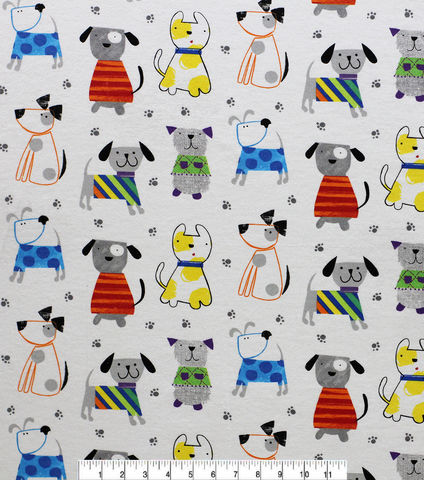 Cotton,Quilt,Fabric,Flannel,Sketched,Rainbow,Dogs,White,Multi,,quilt backing, dresses, quilt fabric,cotton material,auntie chris quilt,sewing,crafts,quilting,online fabric,sale fabric