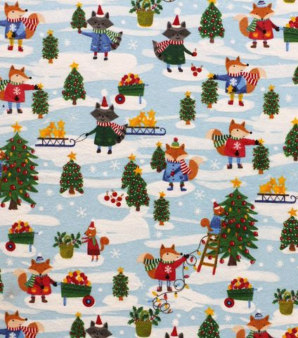 Cotton,Quilt,Fabric,Flannel,Harvesting,For,Winter,Christmas,Blue,Multi,,quilt backing, dresses, quilt fabric,cotton material,auntie chris quilt,sewing,crafts,quilting,online fabric,sale fabric