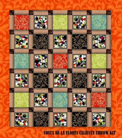 Easy,Quilt,In,A,Day,COSTA,DE,LA,FLORES,CALIENTE,Throw,Kit,51,x,67,cheater fabric, quilt backing, dresses, quilt fabric,cotton material,auntie chris quilt,sewing,crafts,quilting,online fabric,sale fabric