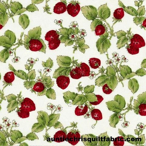 Cotton,Quilt,Fabric,STRAWBERRIES,WITH,LEAVES,OFF,WHITE,Pre,Cut,Yards,,quilt backing, dresses, quilt fabric,cotton material,auntie chris quilt,sewing,crafts,quilting,online fabric,sale fabric