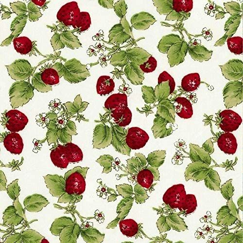 Cotton Quilt Fabric STRAWBERRIES WITH LEAVES OFF WHITE  Pre Cut Yards - product images  of
