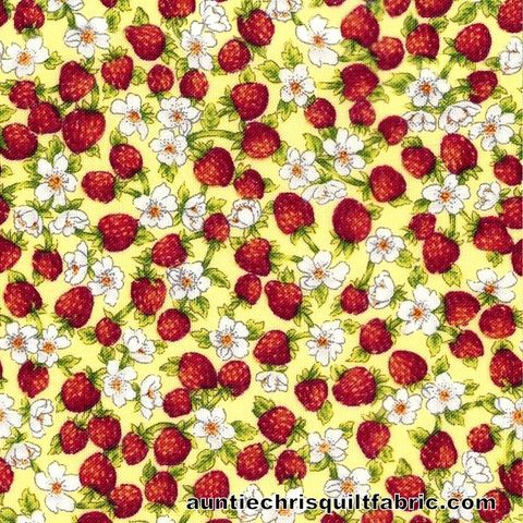Cotton,Quilt,Fabric,TINY,STRAWBERRIES,&,FLOWERS,YELLOW,Pre,Cut,Yards,,quilt backing, dresses, quilt fabric,cotton material,auntie chris quilt,sewing,crafts,quilting,online fabric,sale fabric