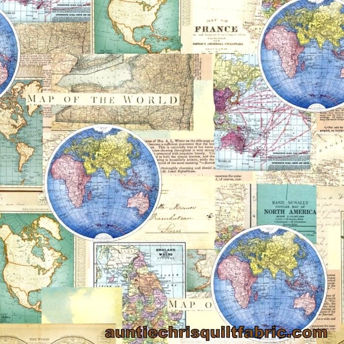 Cotton Quilt Fabric VINTAGE CARTOGRAPHY Antique Maps Multi Pre Cut Yards - product images  of