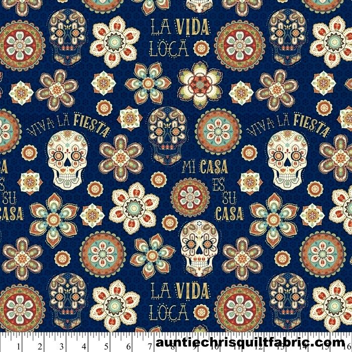 Cotton Quilt Fabric LA VIDA LOCA Mexico Floral Skulls NAVY Multi Pre Cut Yards - product images  of