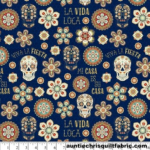 Cotton,Quilt,Fabric,LA,VIDA,LOCA,Mexico,Floral,Skulls,NAVY,Multi,Pre,Cut,Yards,,quilt backing, dresses, quilt fabric,cotton material,auntie chris quilt,sewing,crafts,quilting,online fabric,sale fabric