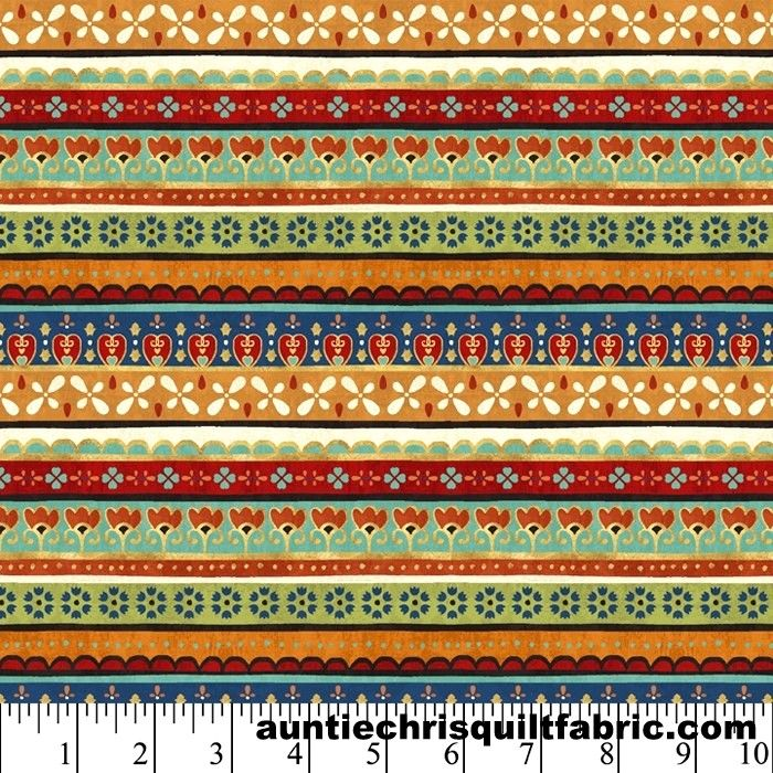 Cotton Quilt Fabric LA VIDA LOCA Floral Stripes Multi Pre Cut Yards - product images  of