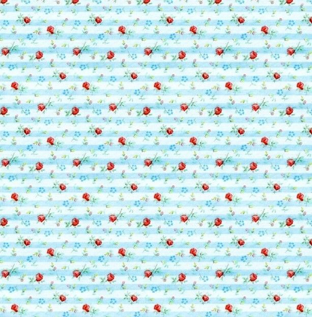 Cotton Quilt Fabric MINDY'S FLORAL Pillowcase Stripe Lt Blue Pre Cut Yards - product images  of