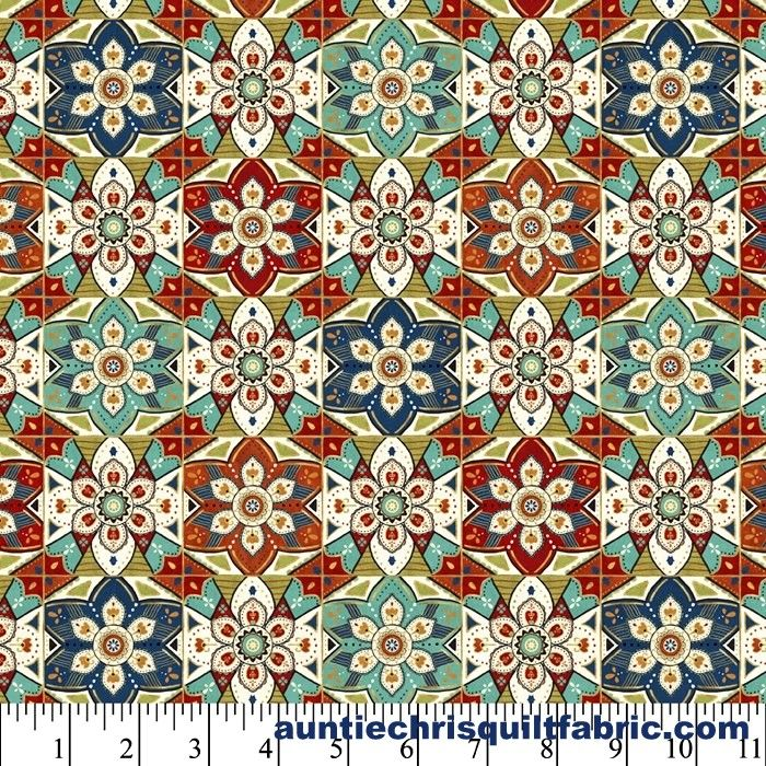 Cotton Quilt Fabric LA VIDA LOCA GEO Mexican Floral Tile Multi Pre Cut Yards - product images  of
