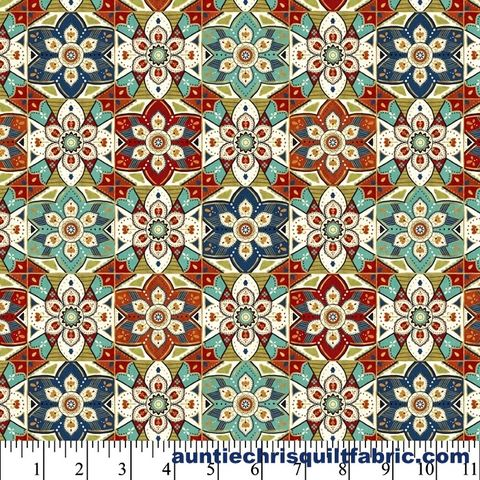 Cotton,Quilt,Fabric,LA,VIDA,LOCA,GEO,Mexican,Floral,Tile,Multi,Pre,Cut,Yards,,quilt backing, dresses, quilt fabric,cotton material,auntie chris quilt,sewing,crafts,quilting,online fabric,sale fabric