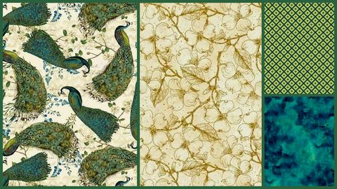 Quick,Cuts,Cotton,Fabric,Peacock,Arbor,Coordinated,2,Yard,Medley,,quilt backing, dresses, quilt fabric,cotton material,auntie chris quilt,sewing,crafts,quilting,online fabric,sale fabric
