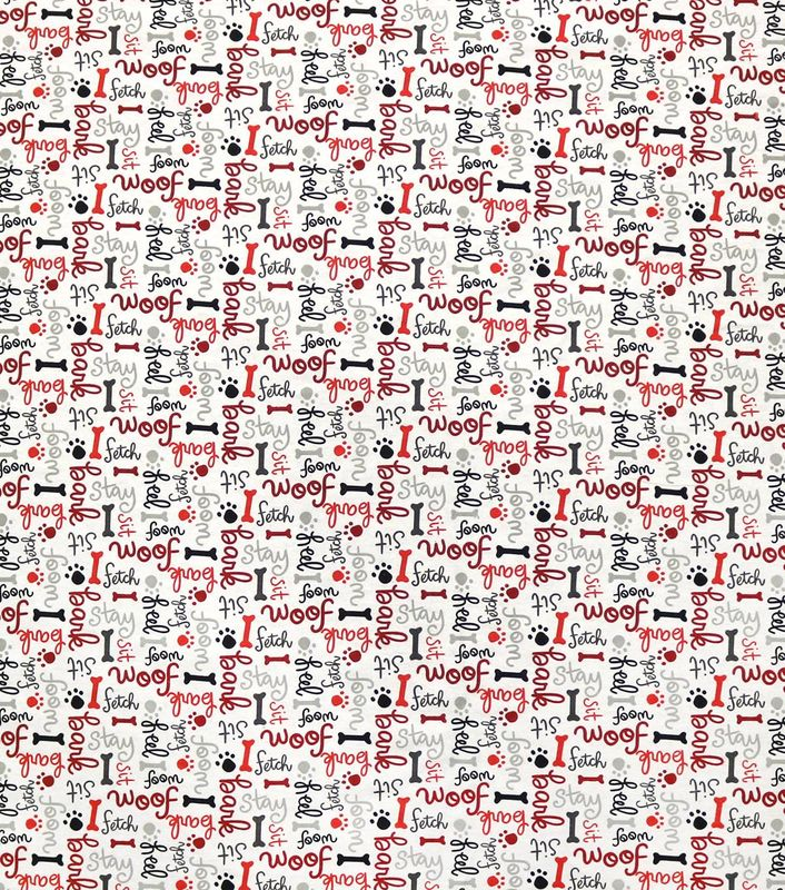 Cotton Quilt Fabric Flannel Woof Dog Words On White Multi - product image
