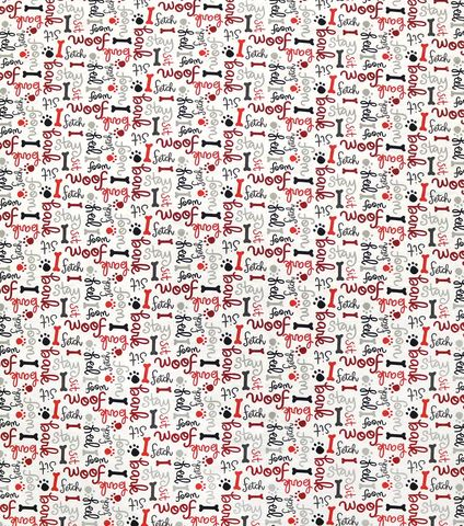 Cotton,Quilt,Fabric,Flannel,Woof,Dog,Words,On,White,Multi,,quilt backing, dresses, quilt fabric,cotton material,auntie chris quilt,sewing,crafts,quilting,online fabric,sale fabric