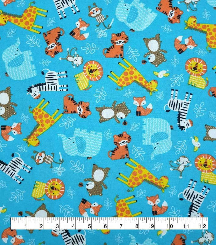 Cotton Quilt Fabric Flannel Zoo Animals Tossed Blue Multi - product image