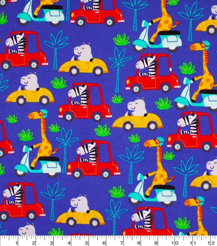 Cotton Quilt Fabric Flannel Safari Transportation Animals Tossed Blue Multi - product image