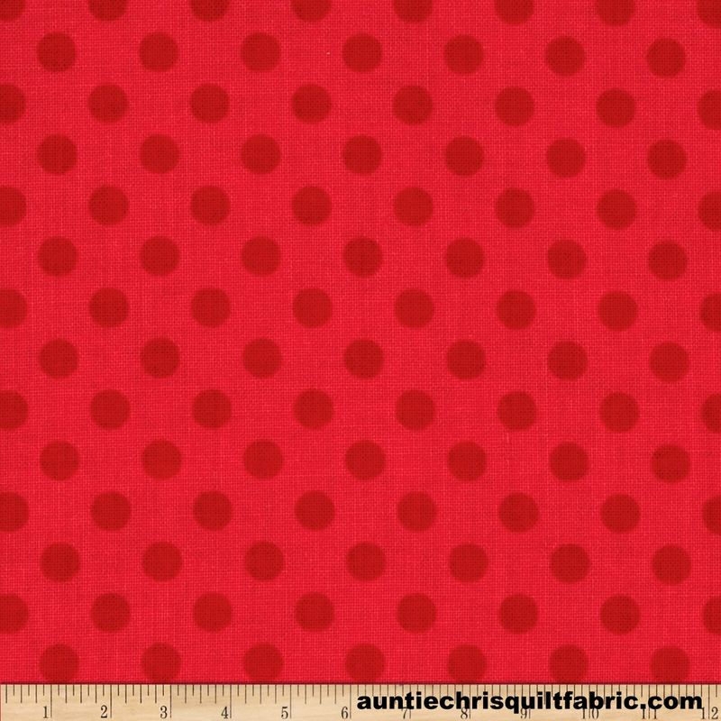 Cotton Quilt Fabric Small Dot Red Tone On Tone Polka Dots Riley Blake  - product images  of