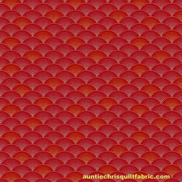 Cotton Quilt Fabric Art Deco Scallops Metallic Mixed Metals Fuchsia - product images  of