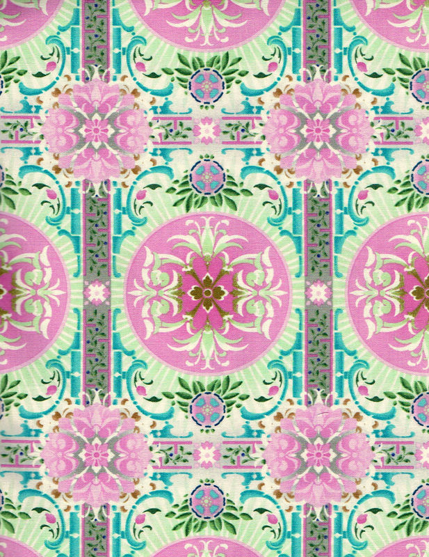 Cotton Quilt Fabric Treasures of Nature Aviary Tile Pink Multi - product images  of