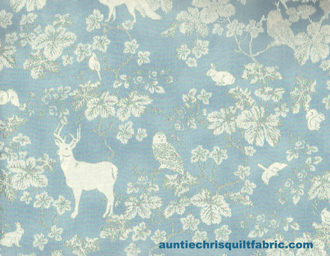 Cotton,Quilt,Fabric,Snowy,Peak,Woodland,Creatures,Metallic,Blue,Silver,,quilt backing, dresses, quilt fabric,cotton material,auntie chris quilt,sewing,crafts,quilting,online fabric,sale fabric