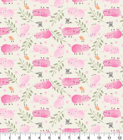 Cotton,Quilt,Fabric,Flannel,Tossed,Piggies,White,Pink,Multi,,quilt backing, dresses, quilt fabric,cotton material,auntie chris quilt,sewing,crafts,quilting,online fabric,sale fabric