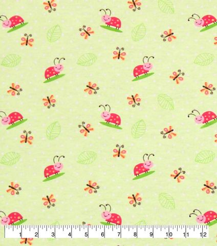 Cotton,Quilt,Fabric,Flannel,Little,Ladybug,Green,Pink,Multi,,quilt backing, dresses, quilt fabric,cotton material,auntie chris quilt,sewing,crafts,quilting,online fabric,sale fabric