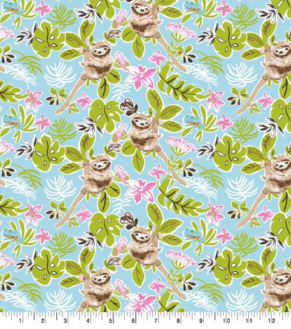 Cotton,Quilt,Fabric,Flannel,Hanging,Sloth,On,Aqua,Multi,,quilt backing, dresses, quilt fabric,cotton material,auntie chris quilt,sewing,crafts,quilting,online fabric,sale fabric