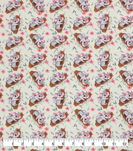 Cotton,Quilt,Fabric,Flannel,Baby,Koalas,White,Multi,,quilt backing, dresses, quilt fabric,cotton material,auntie chris quilt,sewing,crafts,quilting,online fabric,sale fabric