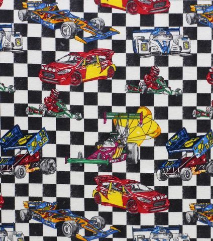 Cotton,Quilt,Fabric,Flannel,Racecars,On,Checkered,Flag,Nascar,Multi,,quilt backing, dresses, quilt fabric,cotton material,auntie chris quilt,sewing,crafts,quilting,online fabric,sale fabric