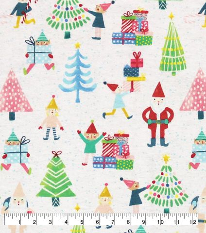 Cotton,Quilt,Fabric,Flannel,Gift,Delivery,Elves,Christmas,White,Multi,,quilt backing, dresses, quilt fabric,cotton material,auntie chris quilt,sewing,crafts,quilting,online fabric,sale fabric