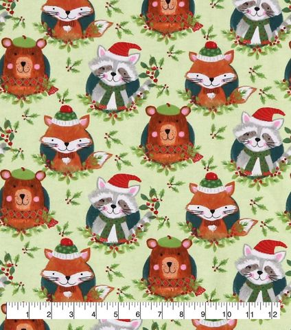 Cotton,Quilt,Fabric,Flannel,Christmas,Woodland,Animals,Green,Multi,,quilt backing, dresses, quilt fabric,cotton material,auntie chris quilt,sewing,crafts,quilting,online fabric,sale fabric