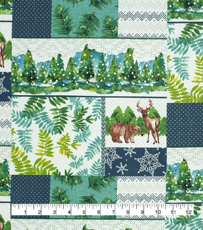 Cotton Quilt Fabric Flannel Winter Landscape Patchwork Animals Green Multi - product image