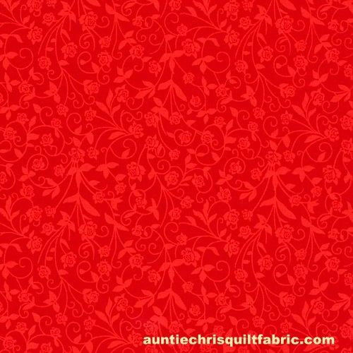 Cotton Quilt Fabric New Tone on Tone Flowers Red - product images  of