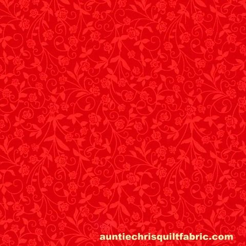 Cotton,Quilt,Fabric,New,Tone,on,Flowers,Red,,quilt backing, dresses, quilt fabric,cotton material,auntie chris quilt,sewing,crafts,quilting,online fabric,sale fabric