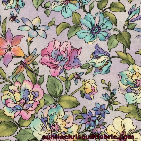 Cotton,Quilt,Fabric,Graceful,Garden,EPIC,Dragonfly,Floral,Amethyst,,quilt backing, dresses, quilt fabric,cotton material,auntie chris quilt,sewing,crafts,quilting,online fabric,sale fabric