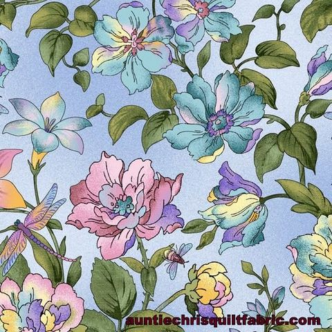 Cotton,Quilt,Fabric,Graceful,Garden,EPIC,Dragonfly,Floral,Baby,Blue,,quilt backing, dresses, quilt fabric,cotton material,auntie chris quilt,sewing,crafts,quilting,online fabric,sale fabric