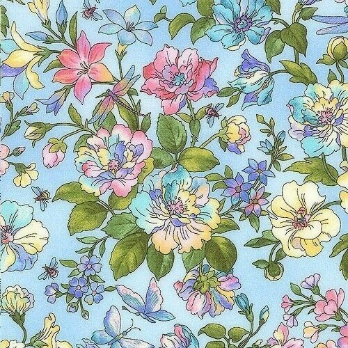 Cotton Quilt Fabric Graceful Garden EPIC Dragonfly Floral Baby Blue - product images  of
